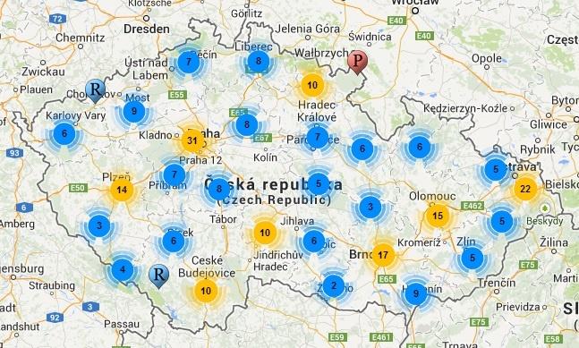 Mapa Pivovaru Ceske Republiky Pivnici Cz